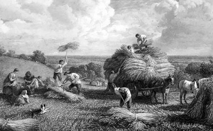Engraving of farm workers bringing in the harvest