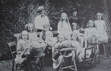 Girls at a lace school, probably 1900s