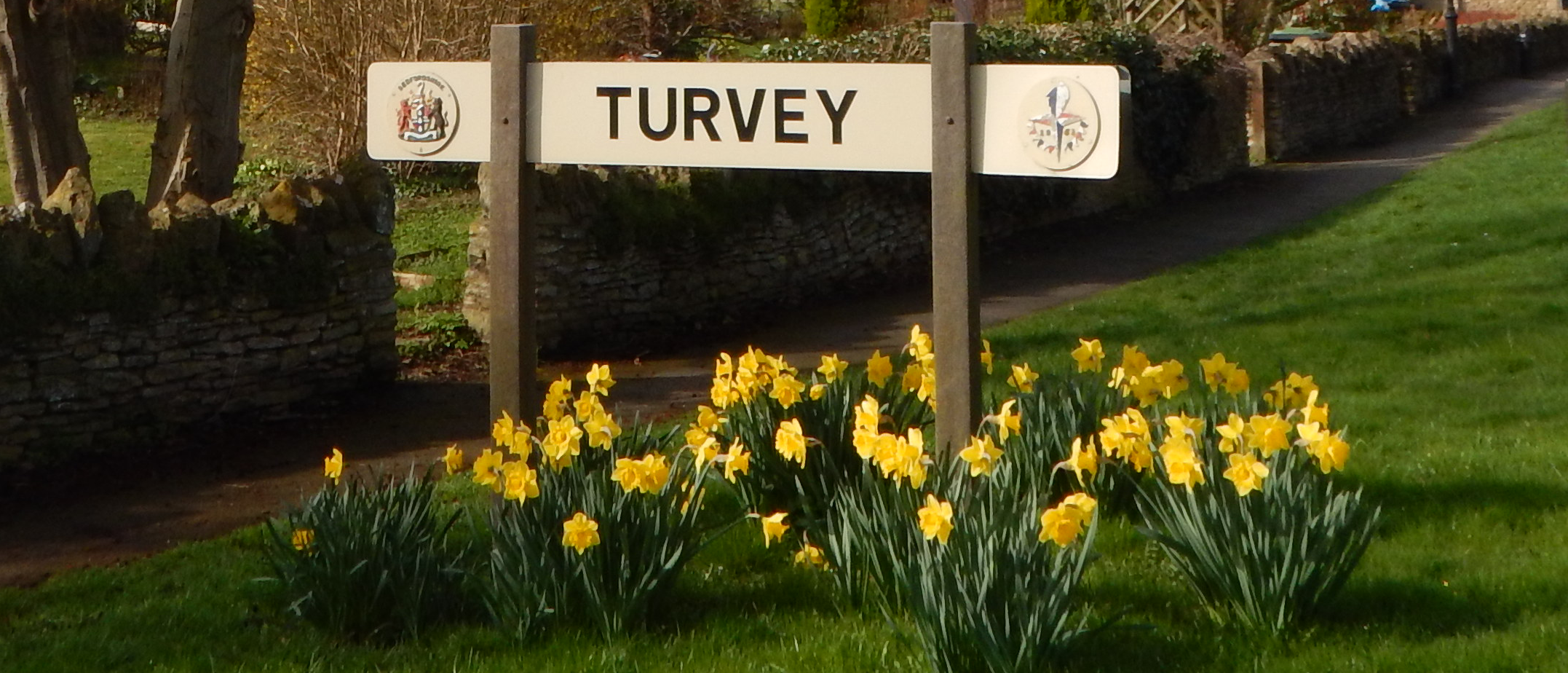 The Turvey sign in the centre of the village